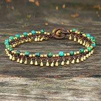 Brass anklet, 'Green Dancer'