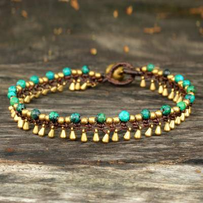 Brass anklet, 'Green Dancer' - Brass Anklet Green Serpentine Artisan Crafted Jewelry