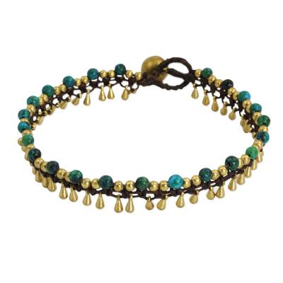 Brass Anklet Green Serpentine Artisan Crafted Jewelry
