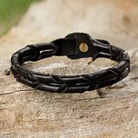 Men's leather wristband bracelet, 'Night World' - Handcrafted Black Braided Leather Bracelet for Men