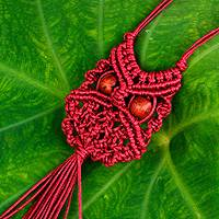 Cotton macrame pendant necklace, 'Scarlet Owl' - Red Cotton Macrame Owl Necklace