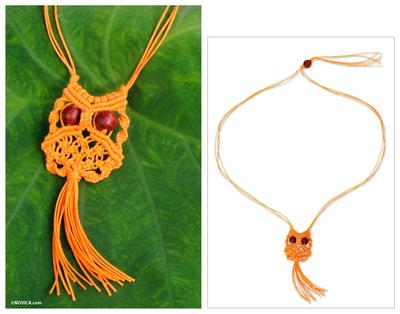 Cotton macrame pendant necklace, 'Orange Owl' - Orange Cotton Macrame Owl Necklace