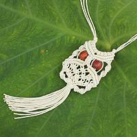 Cotton macrame pendant necklace, 'White Owl' - Handcrafted Thai Macrame Bird necklace
