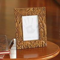 Teak photo frame, 'Never Forget' (4x6) - Hand Crafted 4x6 Teakwood Photo Frame with Elephants