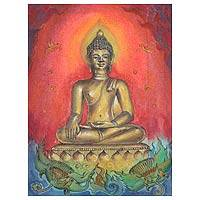 'Phra Phuttha Singh Buddha' - Tempera on Canvas Signed Buddha Painting
