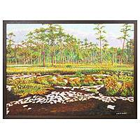 'Phu Hin Rong Kla National Park' - Thai Framed Oil Painting