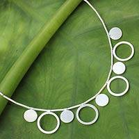Sterling silver pendant necklace, 'Magical Moons' - Fair Trade Sterling Silver Necklace Thai Jewelry