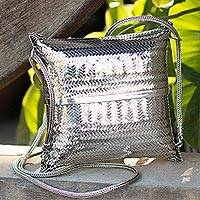 Sterling silver plated shoulder bag, 'Thai Weavings' - Silver Plated Petite Woven Shoulder Bag