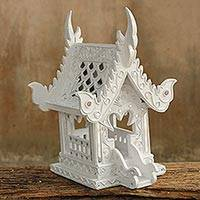 Wood spirit house, 'Lanna White Temple' - Handcrafted Buddhist Spirit House Sculpture