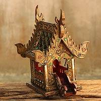 Wood spirit house, 'Lanna Golden Temple' - Hand Crafted Buddhist Spirit House Sculpture