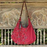 Cotton with leather accents hobo bag, 'Blossoming Red' - Fair Trade Cotton and Leather Accent Hobo Handbag