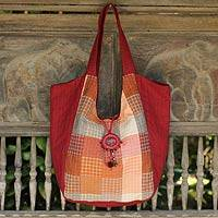 Cotton tote bag, 'Red Bohemian' - Cotton Tote Bag with Brass Bell from Thailand