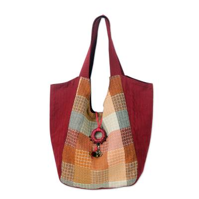 Cotton Tote Bag with Brass Bell from Thailand