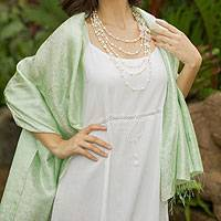 Damask shawl, 'Mandarin Mint' - Green Floral Damask Shawl