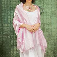 Rayon and silk blend shawl, 'Mandarin Pink' - Pink Floral Damask Shawl