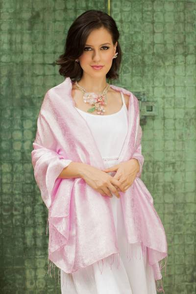 Rayon and silk blend shawl, 'Mandarin Pink' - Pink Floral Damask Shawl