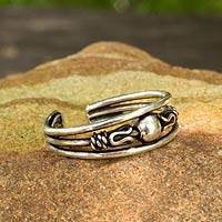 Sterling silver toe ring, 'Moonwalk'