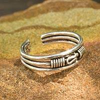 Sterling silver toe ring, 'Origins'