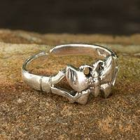 Sterling silver toe ring, 'Moonlit Butterfly' - Toe Ring in Sterling Silver Thai Artisan Jewelry