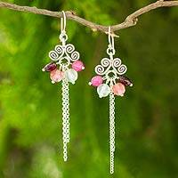 Garnet dangle earrings, 'Sweet Karen Rose' - Thai Hill Tribe Silver Earrings with Garnet and Quartz