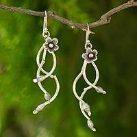 Silver flower earrings, 'Hill Tribe Wind Chime' - Thai Hill Tribe Floral Silver Earrings