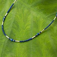 Lapis lazuli beaded necklace, 'Essence of Blue' - Artisan Crafted Lapis Lazuli and Hill Tribe Silver Necklace