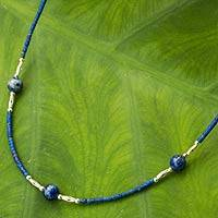 Lapis lazuli beaded necklace, 'Blue Universe' - Artisan Crafted Lapis Lazuli and Hill Tribe Silver Necklace