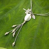 Silver flower necklace, 'Karen Nature' - Silver Hill Tribe Necklace with Dragonfly and Flowers