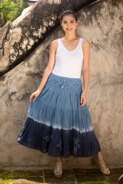 Cotton batik skirt, 'Blue Boho Chic' - Long Cotton Batik and Crochet Skirt from Thailand