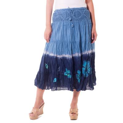 Long Cotton Batik and Crochet Skirt from Thailand