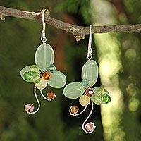 Aventurine floral earrings, 'Glistening Clover'