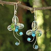 Peridot floral earrings, 'Glistening Clover' - Multi-gemstone Earrings Thai Artisan Jewelry
