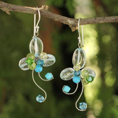 Peridot floral earrings, 'Glistening Clover' - Multi-gemstone Earrings Thai Artisan Jewelry