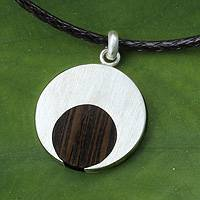 Men's wood necklace, 'Everlasting Moon' - Indian Elm on Sterling Silver Necklace for Men Jewelry