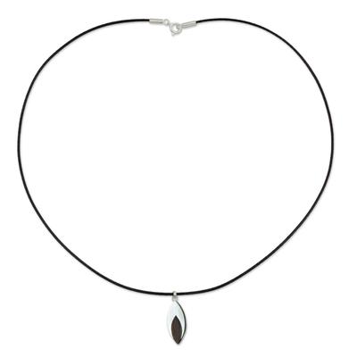 Men's wood necklace, 'Everlasting Leaf' - Indian Elm on Sterling Silver Necklace for Men Jewelry