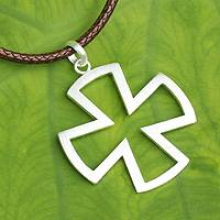 Men's sterling silver cross necklace, 'Crusaders'