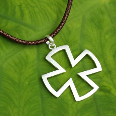 Sterling Silver Cross Necklace for Men Jewelry, 'Crusaders'