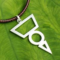 Men's sterling silver pendant necklace, 'Spearhead Geometry' - Fair Trade Sterling Silver Necklace for Men Jewelry
