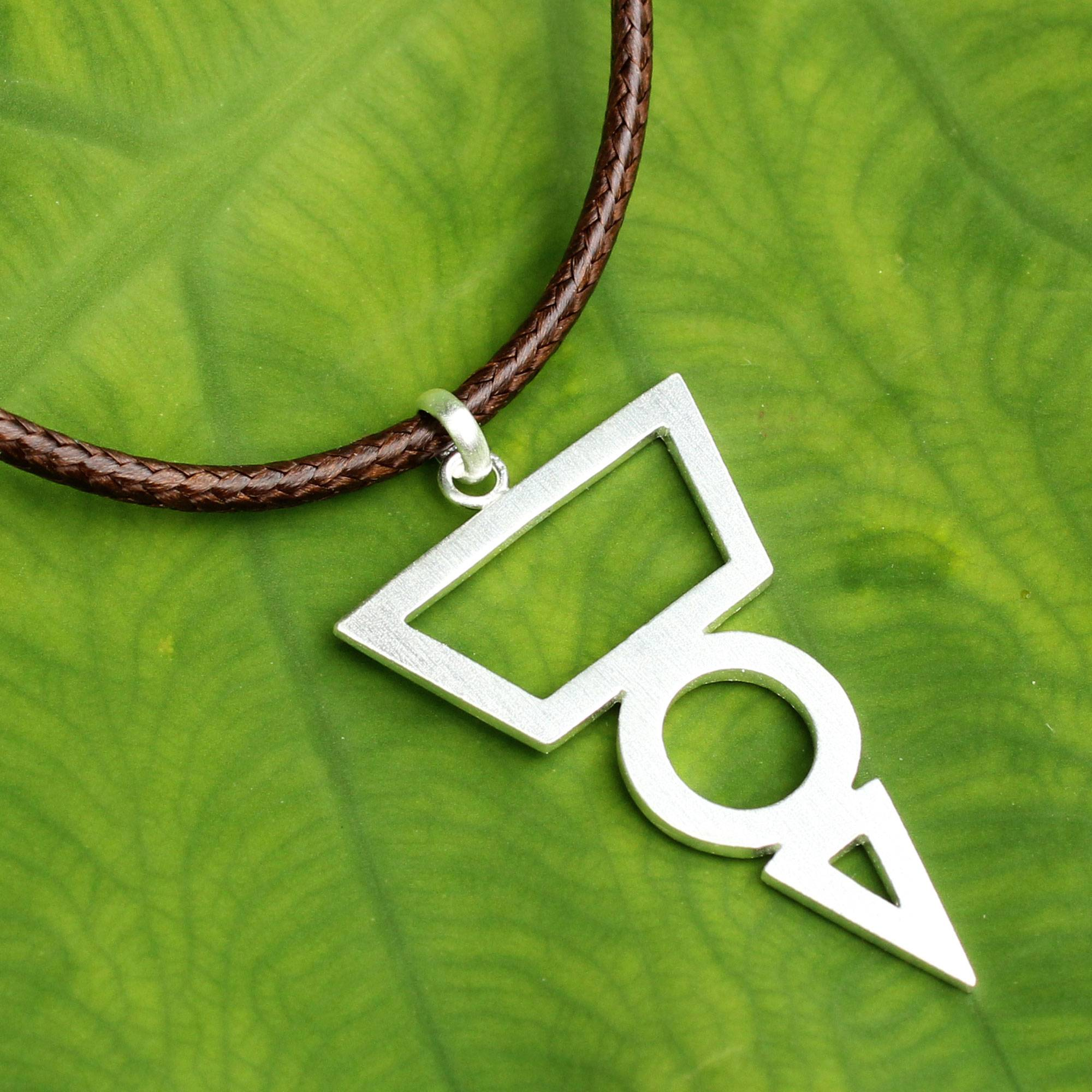 Silver Necklace Geometric Brushed-Silver Sterling 925-Pendant Silver Geometric-Silver Triangle and Circle-Geometric jewelry-Gift for woman