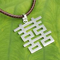 Men's sterling silver pendant necklace, 'Double Happiness'