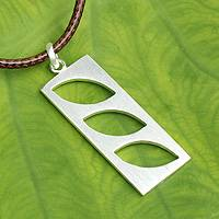 Men's sterling silver pendant necklace, 'No Leaf Unturned' - Artisan Crafted Sterling Silver Necklace for Men