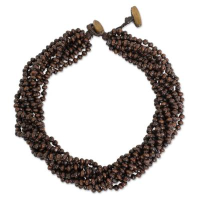Wood torsade necklace, 'Sukhothai Belle' - Brown Torsade Necklace Wood Beaded Jewelry