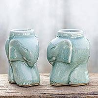Celadon ceramic candleholders, 'Cozy Blue Elephants' (pair) - Artisan Crafted Celadon Ceramic Candleholders (pair)