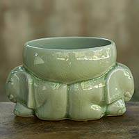 Celadon ceramic bowl, 'Jade Elephants' - Celadon Ceramic Bowl from Thailand