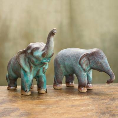 Ceramic figurines, 'Thai Greetings' (pair) - Artisan Crafted Ceramic Figurines Blue Elephants (pair)