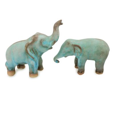 Artisan Crafted Ceramic Figurines Blue Elephants (pair)