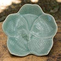 Celadon ceramic serving plate, 'Light Blue Vanda' - Floral Designed Ceramic Serving Dish