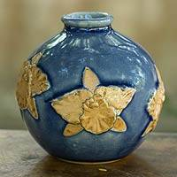Celadon ceramic vase, 'Orchid in Blue Splendor' - Artisan Crafted Watertight Ceramic Vase from Thailand