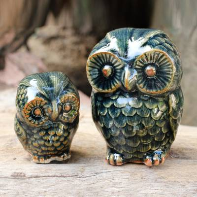 Celadon ceramic figurines, 'Little Green Owls' (pair) - Celadon Ceramic Figurines from Thailand (pair)