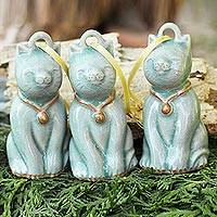Celadon ceramic ornaments, 'Light Blue Festive Cats' (set of 3)